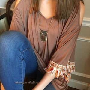 Tops - Coffee Cold Shoulder with Colorful Fringe Tunic